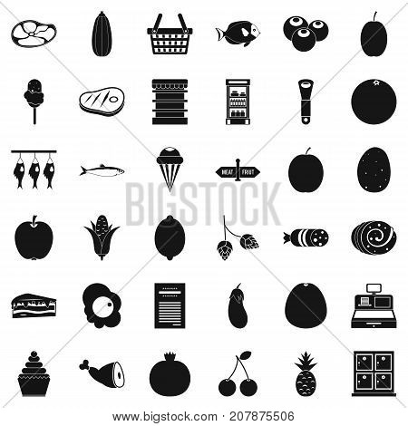 Cash register icons set. Simple style of 36 cash cash register vector icons for web isolated on white background