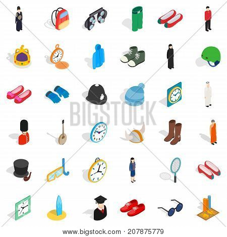 Gear icons set. Isometric style of 36 gear vector icons for web isolated on white background