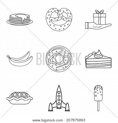 Make a cake icons set. Outline set of 9 make a cake vector icons for web isolated on white background