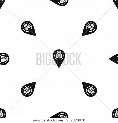 Geo tag with hospital building sign pattern repeat seamless in black color for any design. Vector geometric illustration