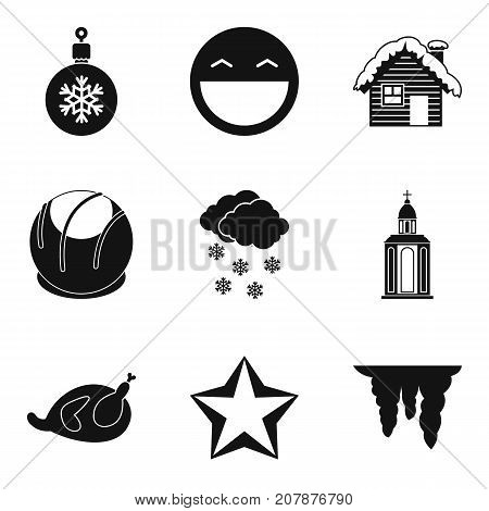 New Years eve icons set. Simple set of 9 new years eve vector icons for web isolated on white background