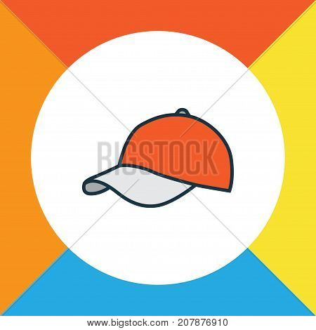 Premium Quality Isolated Cap Element In Trendy Style.  Hat Colorful Outline Symbol.