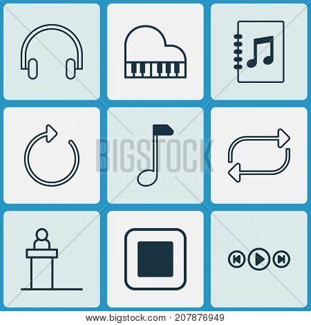 Multimedia Icons Set. Collection Of Rostrum, Headset, Audio Buttons And Other Elements