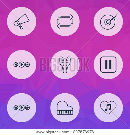 Multimedia Icons Set. Collection Of Refresh, Mute Song, Beat Instrument And Other Elements