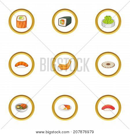 Traditional japan meal icons set. Cartoon style set of 9 traditional japan meal vector icons for web design
