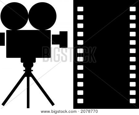 Vector art of a movie camera icon in black and white poster