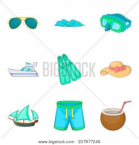 Exploring the seabed icons set. Cartoon set of 9 exploring the seabed vector icons for web isolated on white background