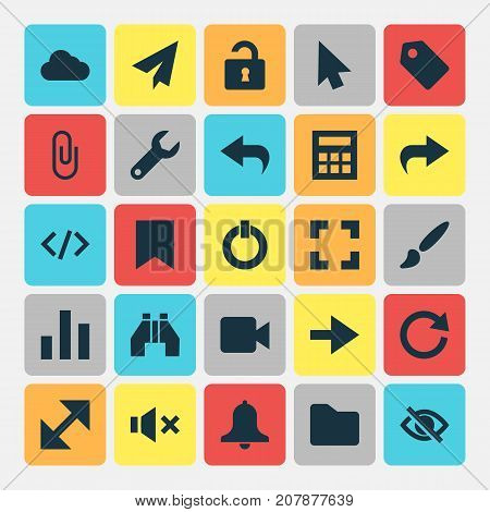 Interface Icons Set. Collection Of Screenshot, Dossier, Refresh And Other Elements