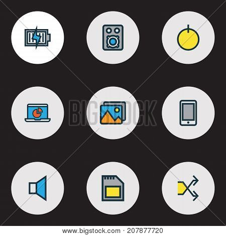 Music Colorful Outline Icons Set. Collection Of Randomize, Memory, Infographic Elements