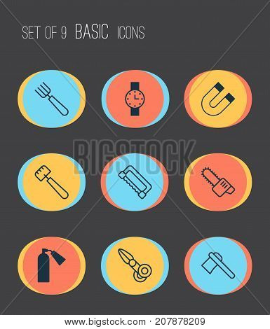 Equipment Icons Set. Collection Of Firefighter, Clippers, Gasoline Cutter And Other Elements
