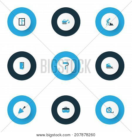 Construction Colorful Icons Set. Collection Of Maintenance, Open, Dozer And Other Elements