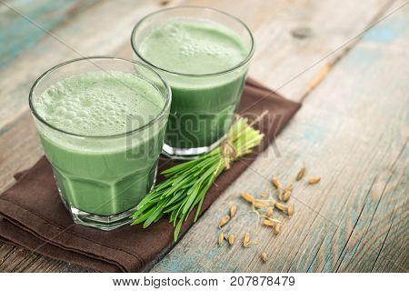Two Green Barley Grass Shots