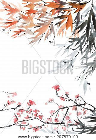 Watercolor and ink illustration of tree foliage and flowers. Oriental traditional paintind u-sin sumi-e. Postcard format of picture.