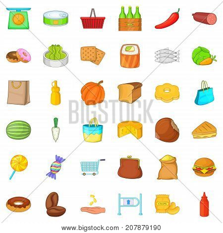 Buy of food icons set. Cartoon style of 36 buy of food vector icons for web isolated on white background