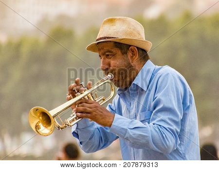 Street Musician Plays The Trumpet