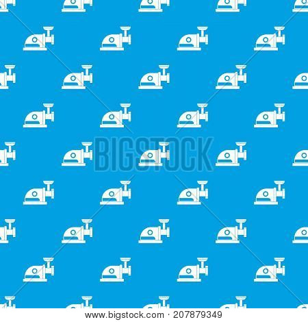 Electric grinder pattern repeat seamless in blue color for any design. Vector geometric illustration