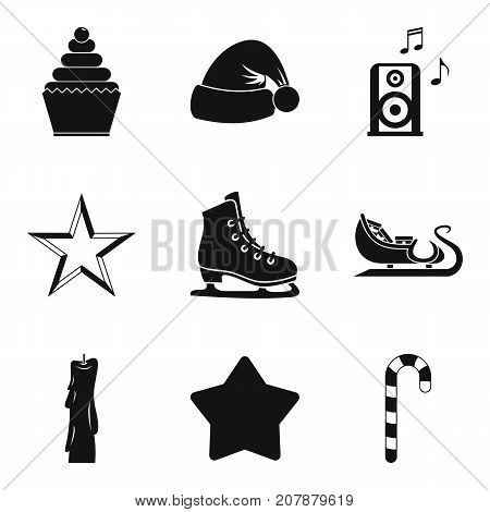 Xmas weekend icons set. Simple set of 9 xmas weekend vector icons for web isolated on white background