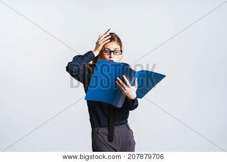 girl in glasses goes mad from work, isolated on white background
