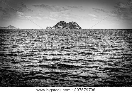 Old black and white picture of the small island in the sea at Mu Ko Ang Thong National Marine Park Surat Thani province Thailand