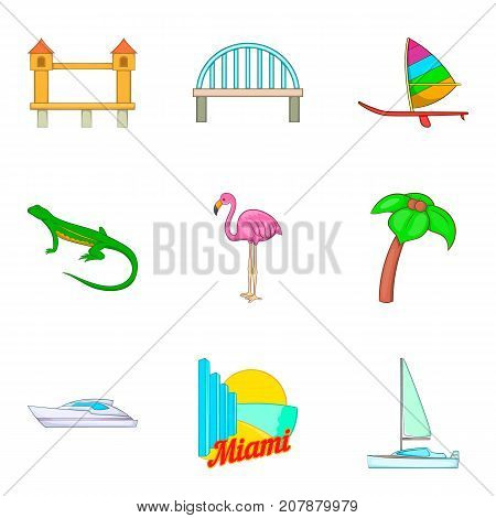 Beach of america icons set. Cartoon set of 9 beach of america vector icons for web isolated on white background