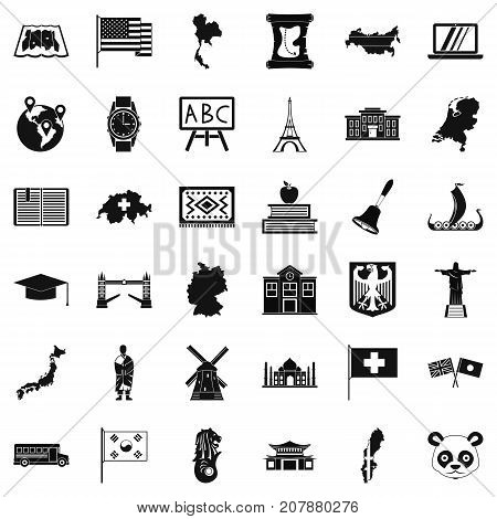 Topography icons set. Simple style of 36 topography vector icons for web isolated on white background