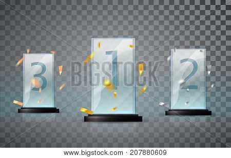 Glass Trophy Isolated On A Transparent Background. Set Of Cups - First, Second And Third Place. Priz