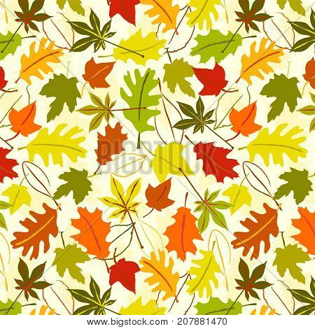 Colorful falling leaves seamless background vector pattern