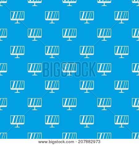 TV pattern repeat seamless in blue color for any design. Vector geometric illustration