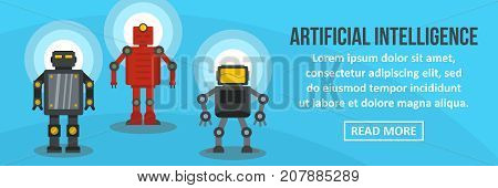 Artificial intelligence banner horizontal concept. Flat illustration of artificial intelligence banner horizontal vector concept for web design