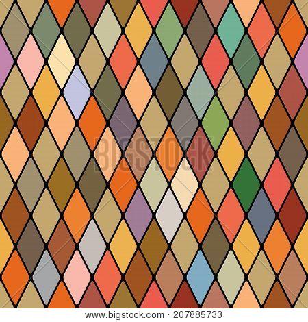 Harlequin's golden autumnal seamless pattern ( poly-color vitrage palette).