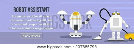 Robot assistant banner horizontal concept. Flat illustration of robot assistant banner horizontal vector concept for web design