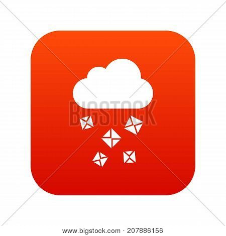 Cloud and hail icon digital red for any design isolated on white vector illustration