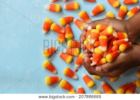 Child's hands holding halloween candy corn selective focus