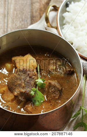 Indian Mutton Lamb curry served with rice