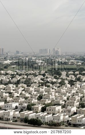 A vast view of a an upscale residential community on Dubai, UAE.