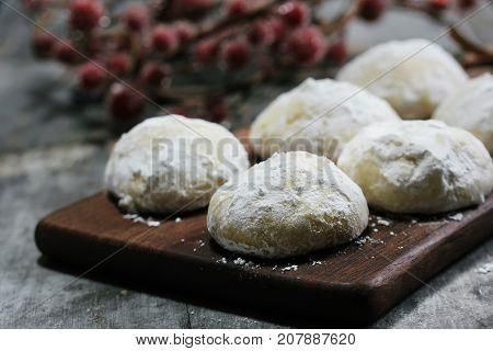 Snowball Christmas cookies selective focus  close up