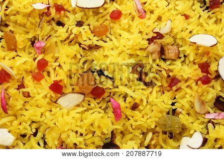 Indian sweet Saffron Rice / Zarda rice