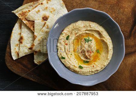 Hummus and Pita chips - An Arabic -Mediterranean Chickpea Tahina