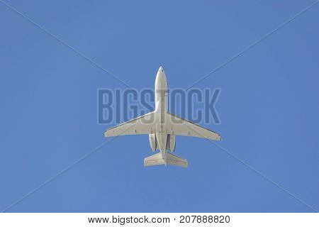 private jet airplane on sky with day time composition photography