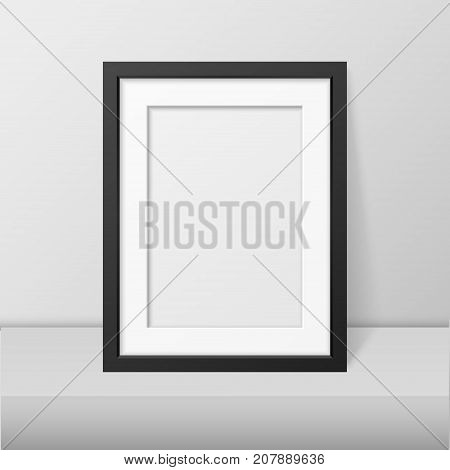 Vector realistic blank black picture frame closeup standing on white table. Design template, mockup. Stock vector illustration, eps10.