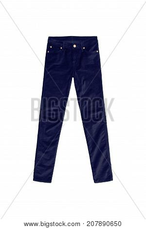Navy Blue Velvet Jeans Pants With Golden Buttons Isolated On White Background