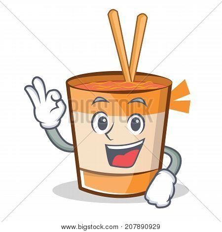 Okay cup noodles character cartoon vector illustration
