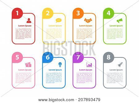 Infographic design business concept vector illustration with 8 steps or options or processes represent work flow or diagram for annual report or presentation