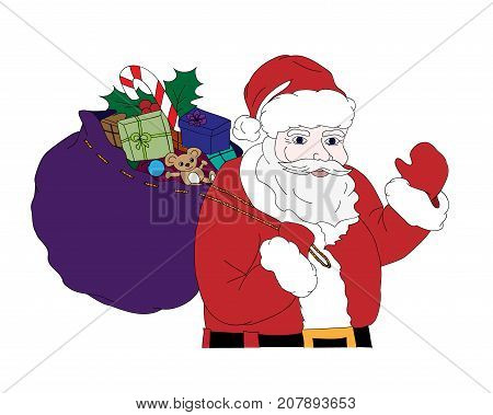 Christmas vector illustration with Santa Claus carrying a sack full of gifts colorful