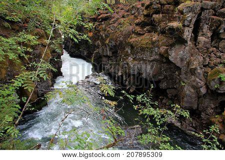 Rogue river waterfalls in California in USA