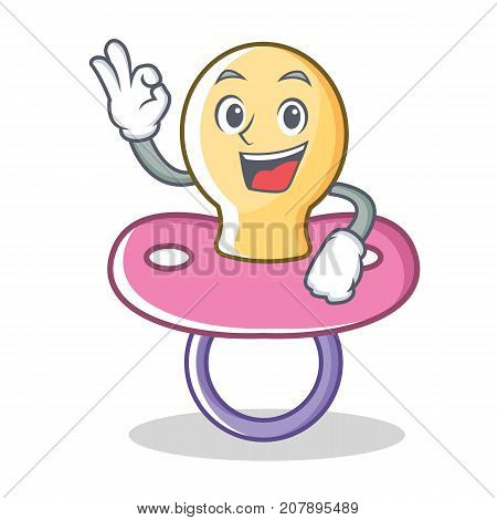 Okay baby pacifier character cartoon vector illustration