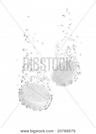 Tablet Dissolving in water.