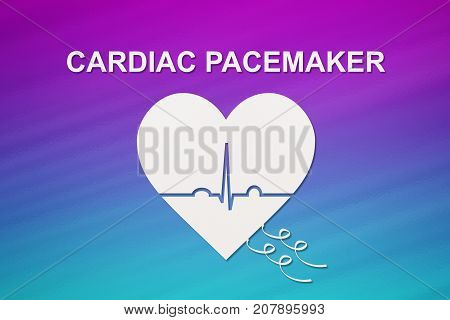 Heart shape with echocardiogram and CARDIAC PACEMAKER text. Medical cardiology concept poster