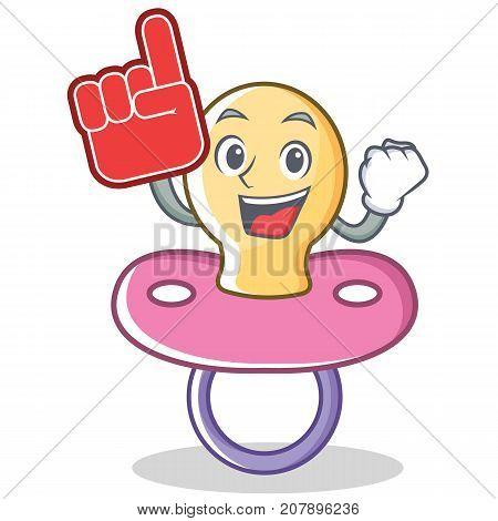 Foam finger baby pacifier character cartoon vector illustration