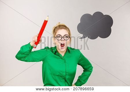 Angry Teacher Woman Holding Big Pencil